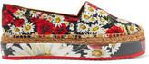 Dolce & Gabbana Floral-Print Faille Platform Espadrilles