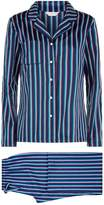 Derek Rose Wellington Striped Pyjama Set, White, M