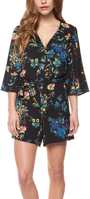 Devoted Women's Rompers 91375-BLACK/BRIGHT - Black & Blue Floral Surplice Romper - Women