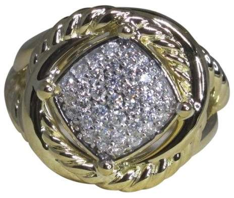 David Yurman Infinity 18K Yellow Gold & Diamond Ring Size 6.5