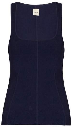 KHAITE Danielle Scoop Neck Ribbed Knit Tank Top - Womens - Navy