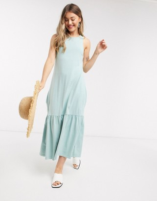 ASOS DESIGN peplum hem midi dress in green acid wash