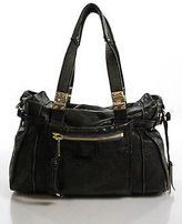 Gryson Dark Gray Leather Double Handle Hobo Handbag