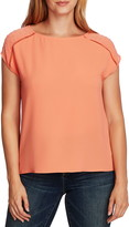 Vince Camuto Clip Dot Detail Short Sleeve Top