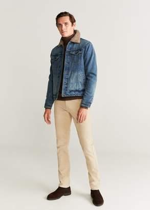 MANGO MAN - Faux shearling-lined denim jacket dark vintage blue - S - Men
