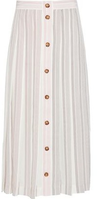 Victoria Beckham Pleated Button-detailed Striped Silk-crepe Midi Skirt