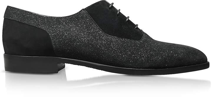 Jimmy Choo Tyler Black Soft Glitter Suede Lace Up Shoes