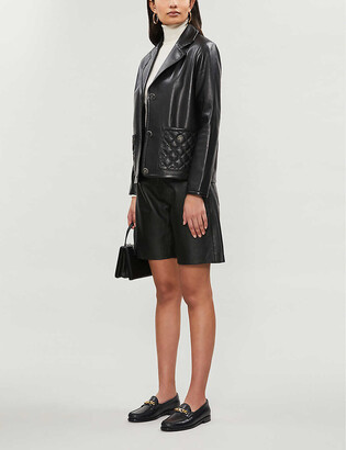 Sandro Quilted-detail leather blazer
