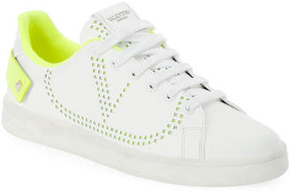 Valentino Garavani Backnet Low-Top Sneakers with Neon Rockstud Tab