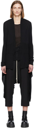 Rick Owens Black Wool Long Wrap Cardigan