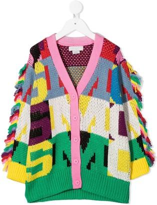 Stella McCartney Kids Monogram Knit Fringe-Detail Cardigan