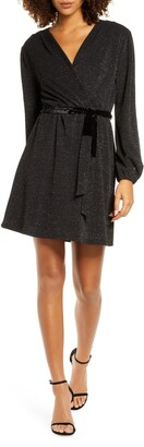 Fraiche by J Glitter Faux Wrap Front Long Sleeve Dress