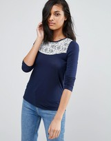 Vero Moda Drapey Cowl Hem Top With Lace Yoke