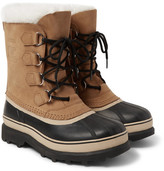 Sorel Caribou Faux Shearling-trimmed Waterproof Nubuck And Rubber Snow Boots - Beige