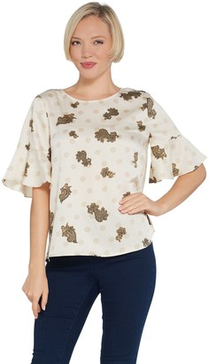 Vince Camuto Flutter Cuff Elbow-Sleeve Delicate Paisley Blouse