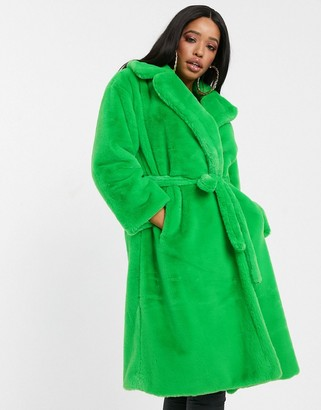 Jayley green faux fur tie waist coat