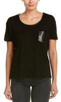 The Kooples Contrast Linen-blend T-shirt.