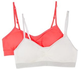Fruit of the Loom Girls Seamless Bra with Removable Pads, 2 Pack, Sizes 4-18