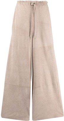 Desa 1972 Tied Waist Suede Palazzo Trousers