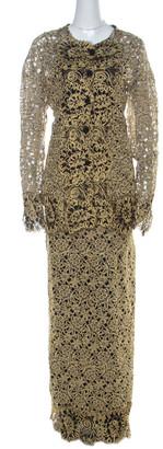 Valentino Gold & Black Guipure Lace Skirt & Jacket Set L