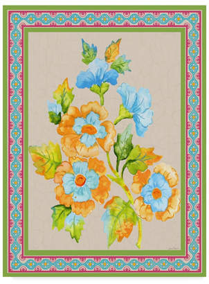 """Jean Plout 'Fiesta Floral Tapestry 2' Canvas Art - 14"""" x 19"""""""
