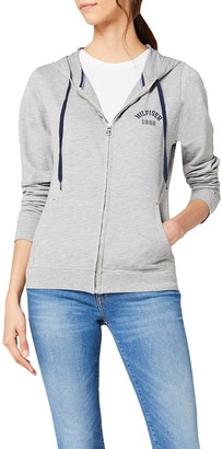 Tommy Hilfiger Women's ZIP THRU HOODY Sports Hoodie Grey - Grau (GREY HEATHER BC05 004) 12 (Manufacturer Size: 40)