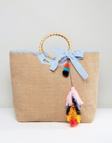 America & Beyond Colorful Tassel Jute bag