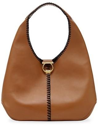 Salvatore Ferragamo Margot Whipstitch Leather Hobo Bag