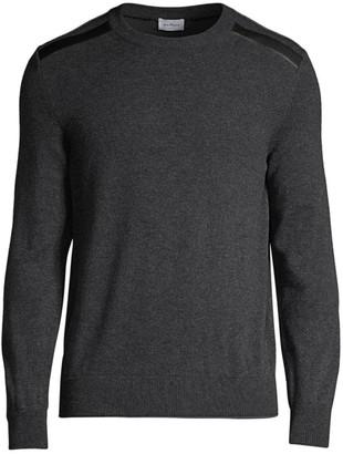 Salvatore Ferragamo Leather-Shoulder Crewneck Sweater