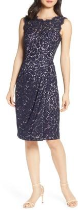 Eliza J Embroidered Lace Sheath Dress (Petite & Regular)