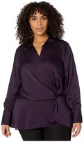 Vince Camuto Specialty Size Plus Size Long Sleeve Hammer Satin Peplum Twist Blouse (Blackberry) Women's Clothing
