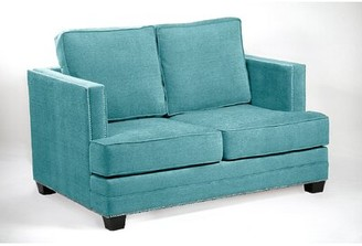 Loni M Designs Madison Loveseat Fabric: Teal, Leg Color: Black, Nailhead Detail: Silver