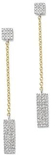 Meira T 14K Yellow and White Gold Diamond Rectangle Dangle Earrings