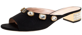 Gucci Black Moire Fabric Embellished Slide Open Toe Mules Size 40.5
