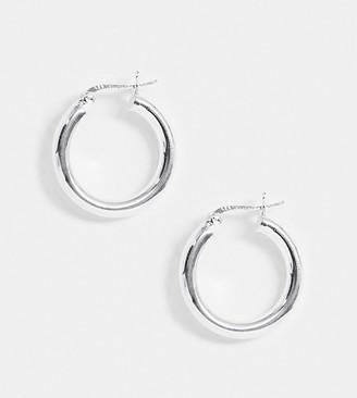 ASOS DESIGN sterling silver tube hoop earrings in 25mm