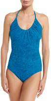 Fuzzi Lace Halter One-Piece Swimsuit, Turquoise