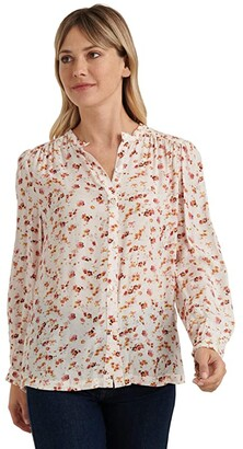Lucky Brand Long Sleeve Button-Up One-Pocket Floral Poet Shirt (Natural Multi) Women's Clothing