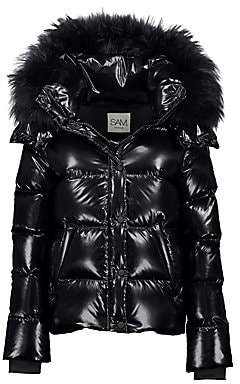 SAM. Women's Annabelle Fox Fur-Trim Down Puffer