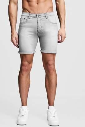 boohoo Stretch Skinny Fit Grey Denim Short