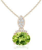 Angara.com Claw Set Oval Peridot Solitaire Pendant Necklace with Diamond Accents in 14K White Gold (8mm Peridot)