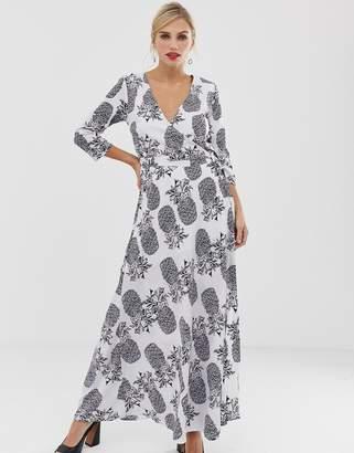 Liquorish maxi wrap dress in pineapple print-Multi