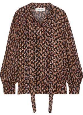 Diane von Furstenberg Lanie Tie-neck Printed Fil Coupe Silk-blend Blouse