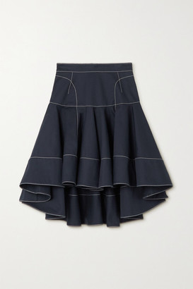 Alexander McQueen - Ruffled Topstitched Cotton-gabardine Skirt - Navy