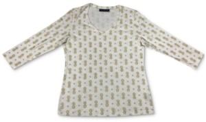 Karen Scott Plus Size Printed V-Neck Top, Created for Macy's