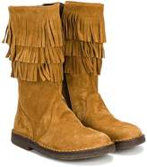 Pà ̈pà ̈ fringed trim boots
