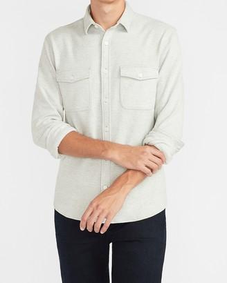 Express Slim Solid Supersoft Flannel Shirt