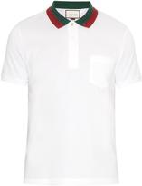 Gucci Contrast-collar cotton-blend piqué polo shirt