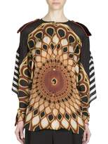 Givenchy Women's Open-Back Optical Printed Silk Top