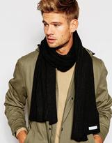 Selected Ribbed Scarf - Black
