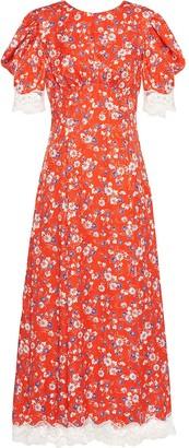 Miu Miu Floral Print Lace Trim Dress